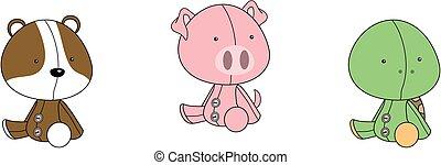 cute baby plush animals cartoon sitting collection set3