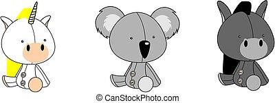 cute baby plush animals cartoon sitting collection set4