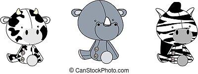 cute baby plush animals cartoon sitting collection set6