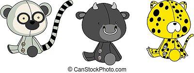 cute baby plush animals cartoon sitting collection set7