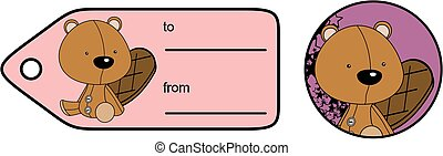 cute baby plush beaver cartoon giftcard sticker in vector...