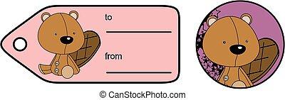 cute baby plush beaver cartoon giftcard sticker