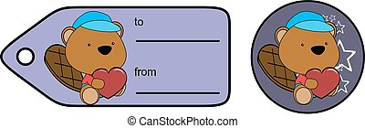 cute baby plush beaver cartoon love giftcard sticker
