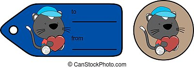 cute baby plush cat cartoon love giftcard sticker in vector...