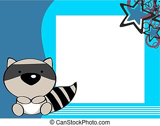 cute baby raccoon picture frame background in vector format
