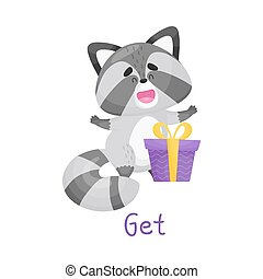 Cute Baby Raccoon Surprising With Gift With Handwritten Inscription Get Vector Illustration Cartoon Character