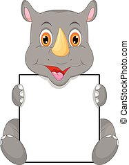 cute baby rhino and blank sign