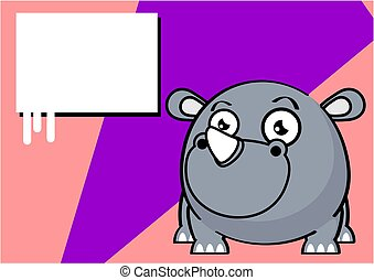 cute baby rhino ball style cartoon expression background