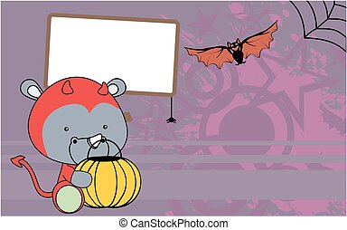 cute baby rhino cartoon halloween costume background