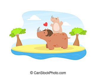 Cute Baby Rhinoceros and Parent, Happy Wild African Animals Family Cartoon Vector Illustration