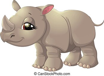 Cute baby rhinoceros sitting