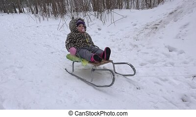 Cute baby ride on sled in winter park. Handheld. 4K - Cute...