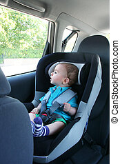 cute baby safe in car
