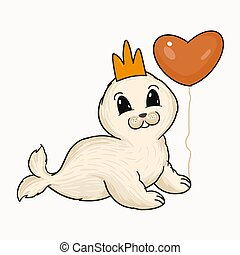 Cute baby seal with crown and heart balloon vector illustration. Hand painted cartoon animal digital art.