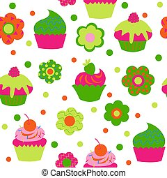 Cute baby seamless pattern with cupcakes and flowers
