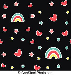 Cute baby seamless pattern with rainbow