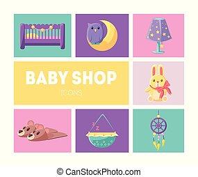 Cute Baby Shop Icons Set, Goods for Babies Design Elements Vector Illustration