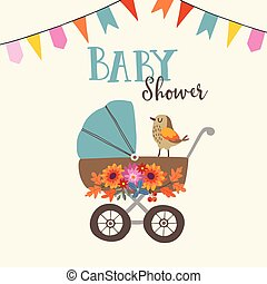 Baby shower celebration invitation card happy birthday background cute baby shower invitation or birthday card with bird baby carriage and flowers vector stopboris Choice Image