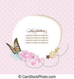 Cute baby shower, invitation, scrapbook template