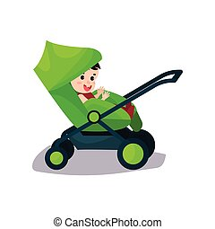 Cute baby sitting in a green modern stroller, transporting of small children with comfort cartoon vector illustration