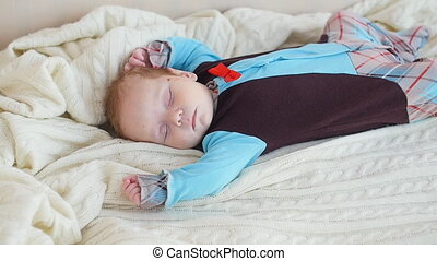 Cute Baby sleeping in bed