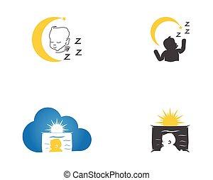 Cute baby sleeping logo vector illustration