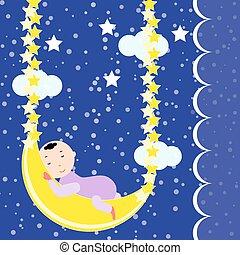 Cute baby sleeping on the moon