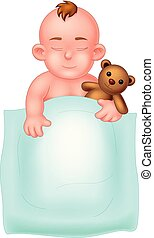 Cute Baby Sleeping With Brown teddy bear and white blanket Cartoon