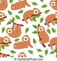 Cute baby sloth bear. Tropical bedroom vector seamless pattern. Illustration of sloth lazy endless background