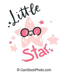 Cute baby star. Hand drawn vector illustration. For kid's or baby's shirt design, fashion print design, graphic, t-shirt, kids wear.