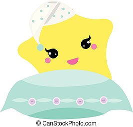 Cute baby star with pillow in hight hat. vector illustration for nursery design. Good night, sweet dreams concept