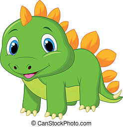 Cute baby stegosaurus cartoon - Vector illustration of Cute...