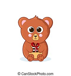 Cute baby teddy bear. Sits with a gift. Vector illustration in cartoon style. isolated white background