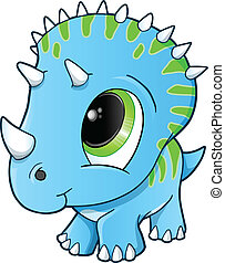 Cute Baby Triceratops Dinosaur Vector Illustration