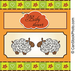 cute baby twins shower card