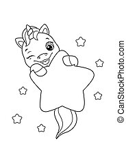 Cute baby unicorn with star Coloring Page