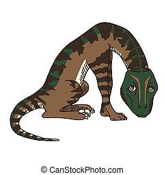 Cute Baby Velociraptor or Raptor Dinosaur Feeling Regretful