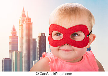 Cute Baby Wearing Red Mask
