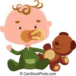 Cute baby with a teddy bear