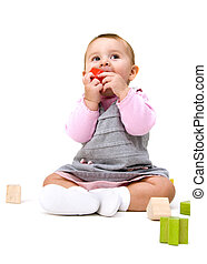 Cute Baby with Blocks