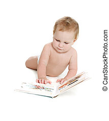 cute baby with book over white