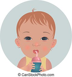 Cute baby with bottle of milk. Drinking toddler emoticon. Happy child emoji.