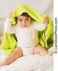 Cute Baby With Green Towel