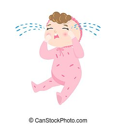 Cute baby with kinky hair in pink pajama sitting and crying. Vector illustration in flat cartoon style.