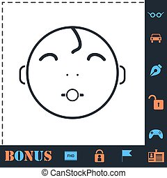 Cute baby with pacifier icon flat