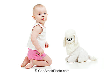 cute baby with soft toy dog