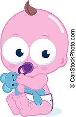 Cute baby with teddy bear