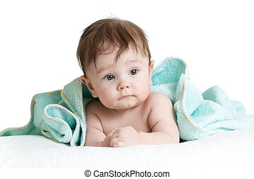Cute baby with towel