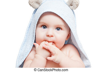 Cute baby with towel on white