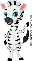 Cute baby zebra cartoon waving